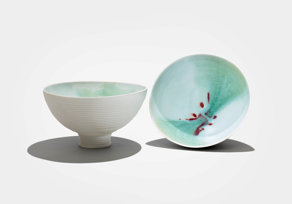 2. Sun Lee- Two porcelain bowls with interior view of fluxing glazes