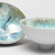 1. Sun Lee- Two porcelain bowls with interior view of fluxing glazes