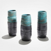 2. Sun Lee- Three stoneware vase forms with matt black and blue green glazes