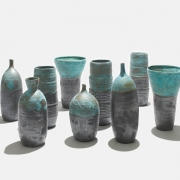 7. Sun Lee- Stoneware bottles and vases with matt black and blue green glazes