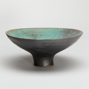 8. Matthew Booth- Footed stoneware bowl with matt black and blue green glazes