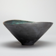 9. Matthew Booth- Altered stoneware bowl with matt black and blue green glazes